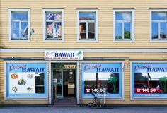 Front of a pizzeria named Hawaii. In a little swedish town, Vetlanda, Sweden royalty free stock photography