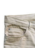 Front pocket denim trousers beige Royalty Free Stock Images