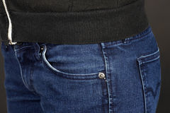 Front pocket of jeans Stock Images