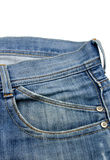 Front pocket with a seam on the blue jeans Stock Images