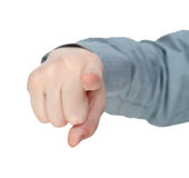 Front pointed forefinger - hand gesture Stock Photo