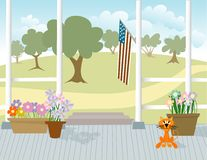 Front Porch. Illustration of a front porch with flowers and a cat Royalty Free Stock Images