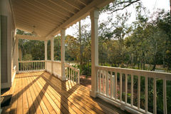 Front Porch. Of house with wood deck Royalty Free Stock Photo