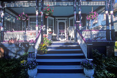 Front porch and chairs of Victorian home in Cape May, NJ Stock Image