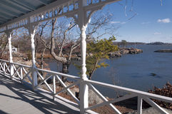Front Porch in Connecticut. Looking out from a front porch in Branford Connecticut at Long Island sound near Kelsey Island Royalty Free Stock Photography