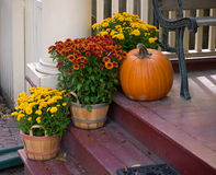 Front Porch Fall Flowers Stock Image