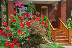 Front porch with flowers Royalty Free Stock Image