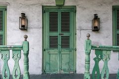 Front Porch with Green Door and Railing stock photography