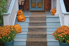 Front porch with Halloween pumpkins Royalty Free Stock Photo