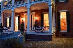 Front porch night scene Belmont Antebellum Plantation royalty free stock images