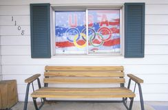 Front Porch with Olympic Flag in Window, Park City, Utah Royalty Free Stock Photo