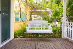 Front porch with a porch swing Royalty Free Stock Photo