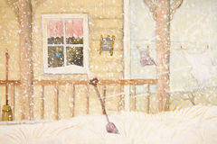 Front porch in snow with clothesline