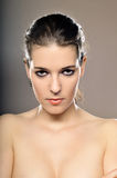 Front Portrait Of A Beautiful Woman Royalty Free Stock Photos