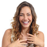 Front portrait of a funny fashion woman laughing hilarious royalty free stock photo