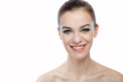 Front portrait of a smiling woman with beauty face with copyspac Stock Images