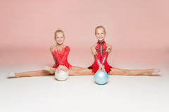 Front portrait of two gymnast royalty free stock photography