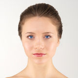 Front portrait woman. Front portrait young adult woman with clean fresh skin royalty free stock images