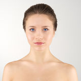 Front portrait woman. Front portrait young adult woman with clean fresh skin stock photos