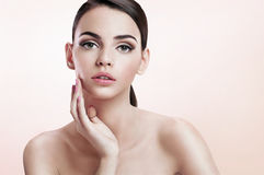 Front portrait of the woman with beauty face, skin care concept Stock Photography