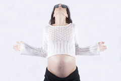 Front pregnant woman meditating Royalty Free Stock Photo