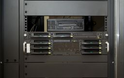 Front of professional server. With bay hard disk and save system royalty free stock photo
