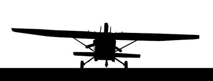 Front profile silhouette of landing X328 Atlas Angel Turbine sky. Diving equipped aircraft Royalty Free Stock Photography