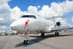 Front of a Qatar Executive Bombardier Global 5000 business jet at Singapore Airshow 2012 Stock Image