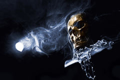 Front of real skull. In abstract smoke Royalty Free Stock Images