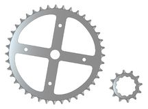 Front And Rear Isolated Bicycle Cogs. The front and rear gearing cogs of a typical bicycle Royalty Free Stock Image