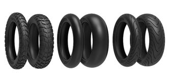 Front and rear, racing, road and off-road, motorcycle tires. 3d rendering. 3D illustration, isolated on white background Royalty Free Stock Photo