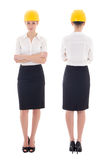 Front and rear view of business woman architect in yellow builde Royalty Free Stock Photography