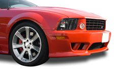 Front of red American muscle. Front of red modern American muscle car on a white background Royalty Free Stock Image