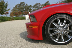 Front of red american muscle car. With shiny rims stock photos