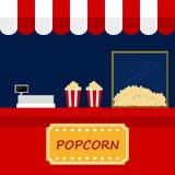 Front of red popcorn shop vector illustration