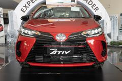 Front Red Toyota Yaris Ativ 2020 Car in Car Showroom