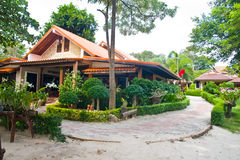 Front of resort. On the beach in Thailand Stock Photo