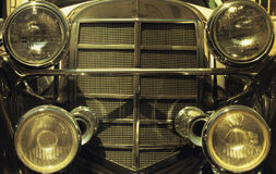 Front of a restored retro car (fragment) Stock Images