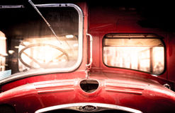 Front of a restored vintage double-decker bus. Royalty Free Stock Photo