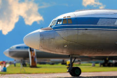 The front of the retro airplane Royalty Free Stock Image