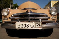 Front of retro car Pobeda Royalty Free Stock Photos