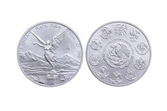 Front and reverse Mexican silver coin Royalty Free Stock Images