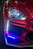 Front right head light and LED decoration lights. BANGKOK, THAILAND - JUNE 22 : Special front right head light and LED decoration lights attached to front bumper royalty free stock photos