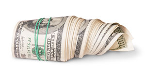 In front roll of money on the side Stock Image
