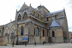 The front of Romsey Abbey. Romsey Abbey on a spring day - side view Royalty Free Stock Image