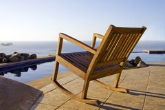 Front row seat for the sunset. Great View of the ocean is available poolside at a resort in Costa Rica Stock Image