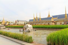 The Royal Crematorium. Front of The royal crematorium is sufficiency economy zone, Chaipattana low speed surface aerator Stock Image