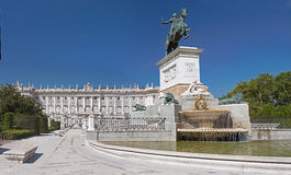 Front of the royal palace in Madrid Royalty Free Stock Image