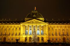 In front of the royal Palais of Brussels at Christmas time stock photos