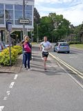 The front runner of the Bracknell Half Marathon at 11.5 miles. Stock Photos